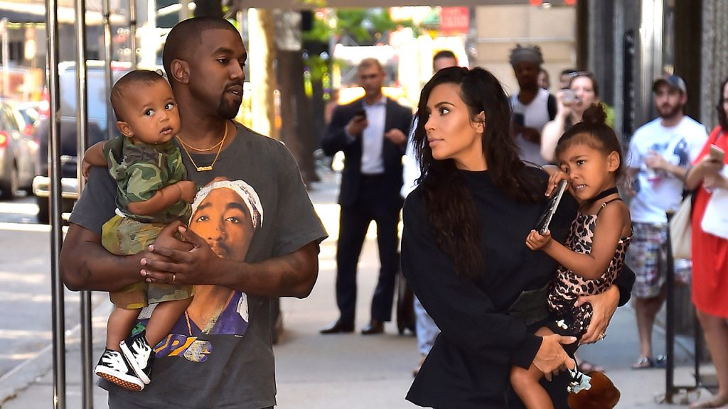 Kim Kardashian, Kanye West with North West and Saint West are spotted in the Upper East Side on August 29, 2016 in New York City. (Photo by Alo Ceballos/GC Images)