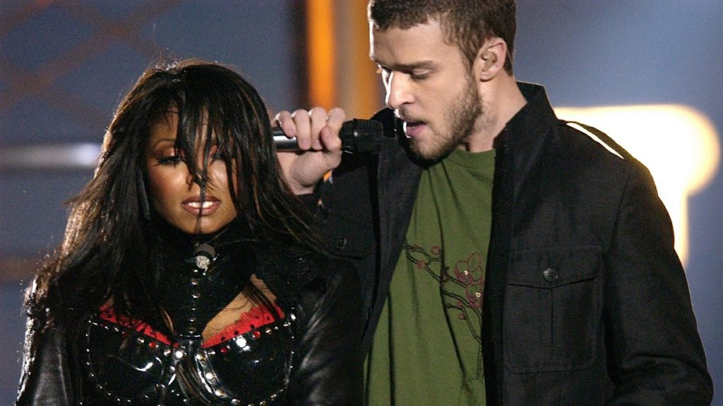 FILE - In this Feb. 1, 2004 file photo, singers Justin Timberlake and Janet Jackson are seen during their performance prior to a wardrobe malfunction during the half time performance at Super Bowl XXXVIII in Houston. Timberlake will headline the Super Bowl halftime show Feb. 4 in Minnesota. (AP Photo/David Phillip, file)