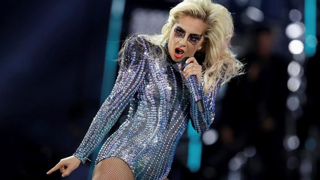 Lady Gaga performs during the halftime show of the NFL Super Bowl, in Houston, USA on Sunday, Feb. 5, 2017 (AP Photo/Darron Cummings)