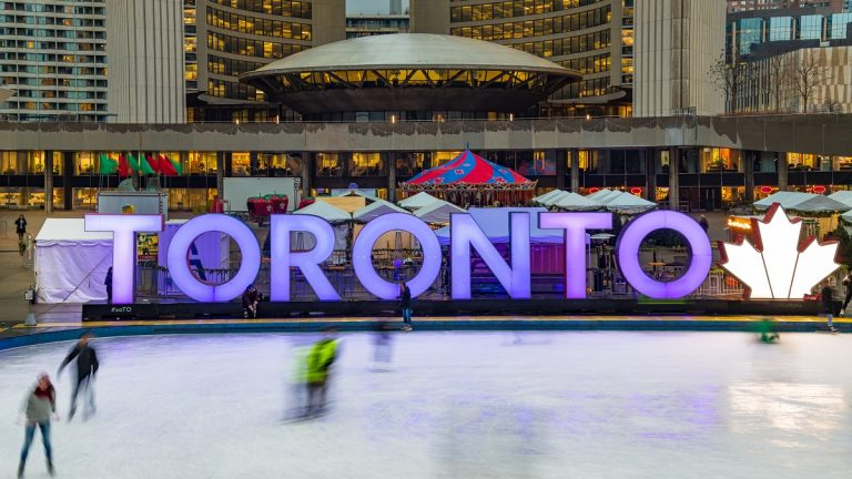 TORONTO, ONTARIO, CANADA - 2017/11/30: Three Dimension sign in Nathan Phillips Square in the Winter Season. The recreational area is turned into a skating rink for having fun outdoors. (Photo by Roberto Machado Noa/LightRocket via Getty Images)