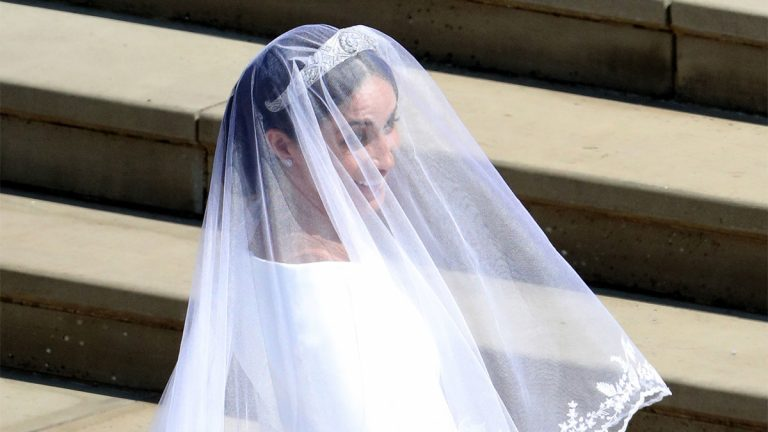 WINDSOR, UNITED KINGDOM - MAY 19: Meghan Markle arrives for her wedding to Prince Harry at St George's Chapel, Windsor Castle on May 19, 2018 in Windsor, England.