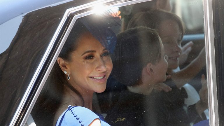 WINDSOR, ENGLAND - MAY 19: Canadian Fashion Stylist Jessica Mulroney arrives at the wedding of Prince Harry to Ms Meghan Markle at St George's Chapel, Windsor Castle on May 19, 2018 in Windsor, England. Prince Henry Charles Albert David of Wales marries Ms. Meghan Markle in a service at St George's Chapel inside the grounds of Windsor Castle. Among the guests were 2200 members of the public, the royal family and Ms. Markle's Mother Doria Ragland. (
