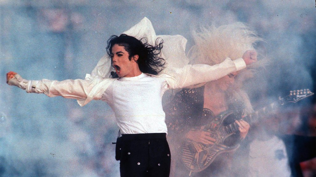 Michael Jackson performing during the halftime show at the Super Bowl in Pasadena, Calif on Feb. 1, 1993 (Photo by: AP Photo/Rusty Kennedy)