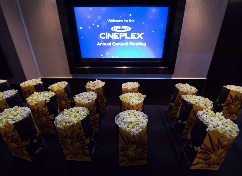 Bags of popcorn are shown during the Cineplex Entertainment company's annual general meeting in Toronto on May 17, 2017. Cineplex Inc. raised its dividend as it reported a first-quarter profit of $15.2 million. The movie theatre company says it will now pay a dividend of $1.74 per share on an annual basis, up from the current rate of $1.68 per share. THE CANADIAN PRESS/Nathan Denette