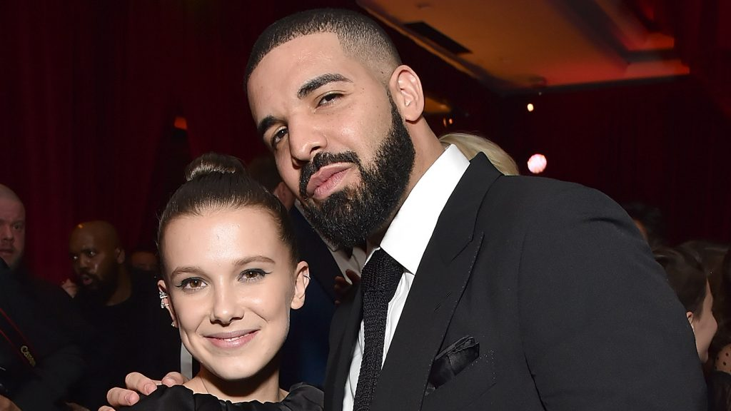 BEVERLY HILLS, CA - JANUARY 07: Millie Bobby Brown and Drake attend the Netflix Golden Globes after party at Waldorf Astoria Beverly Hills on January 7, 2018 in Beverly Hills, California. (Photo by Kevin Mazur/Getty Images for Netflix)
