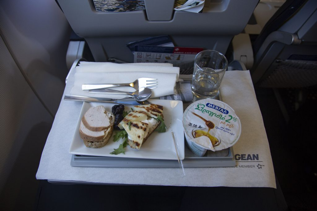 In flight breakfast meal during a flight in business class with Aegean Airlines from Athens. Aegean offers a variety of great and tasty options in meals for business class passengers. They provide also espresso coffee and many options of alcoholic drinks, specially local wines. (Photo by Nicolas Economou/NurPhoto via Getty Images)