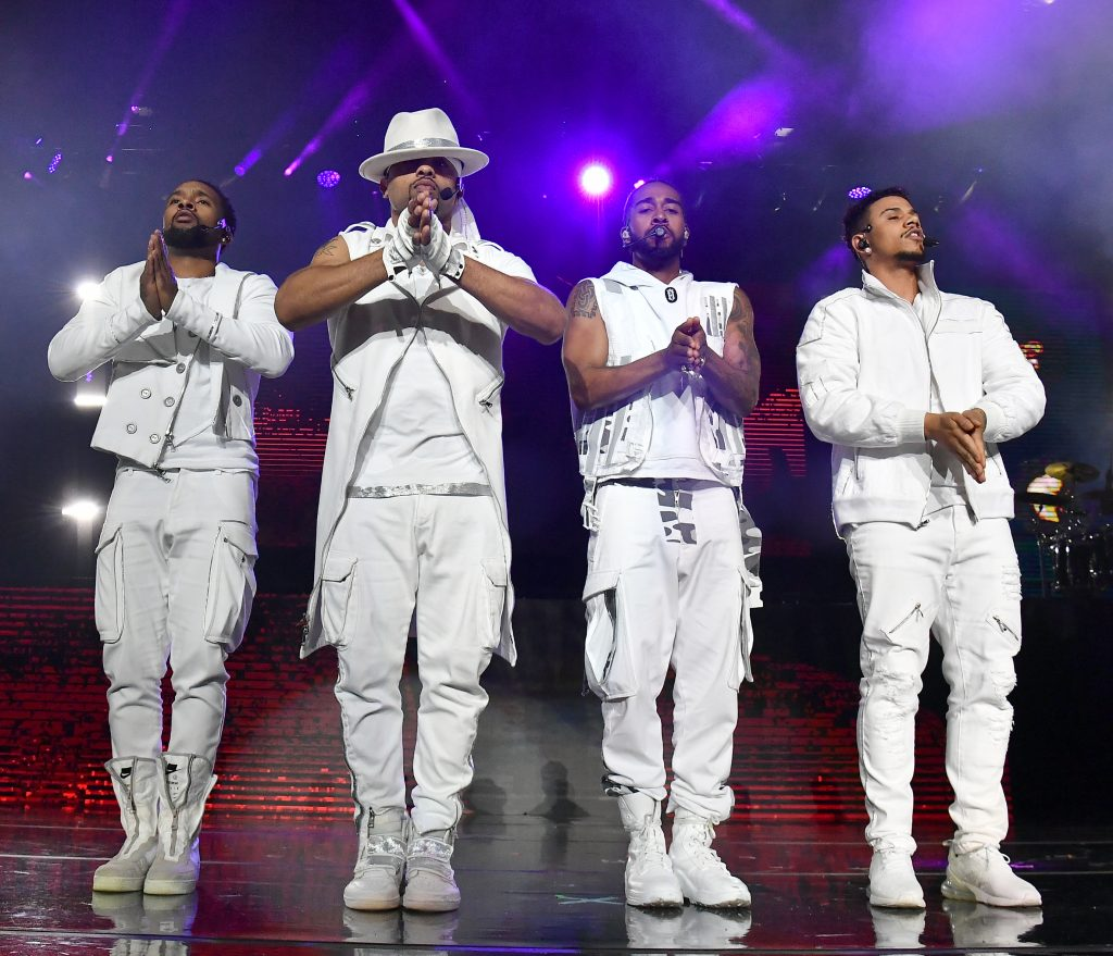 ATLANTA, GEORGIA - APRIL 05:  (L-R) J-Boog,  Raz-B,  Omarion,  and Lil' Fizz of B2K perform onstage during their The Millennium Tour at State Farm Arena on April 05, 2019 in Atlanta, Georgia. (Photo by Paras Griffin/Getty Images)