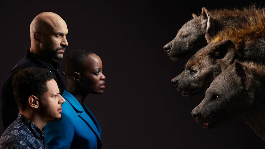 Keegan-Michael Key, Florence Kasumba, and Eric Andre as the hyenas Kamari, Shenzi, and Azizi (Photo by: Disney)
