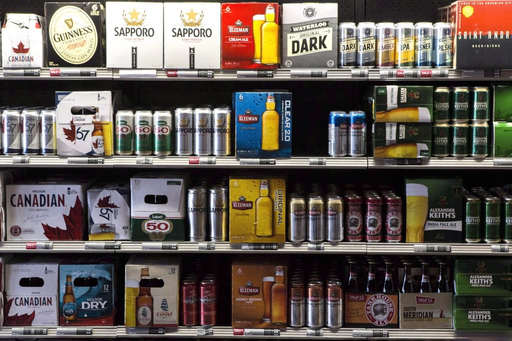 Beer products are on display at a Toronto beer store on Thursday, April 16, 2015. Ontario craft breweries are welcoming the provincial government's move to expand beer sales to corner stores, saying the current system limits their products' exposure to customers. THE CANADIAN PRESS/Chris Young